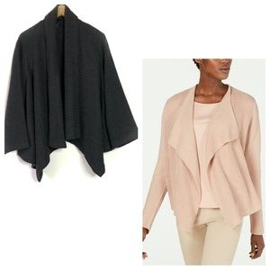 EILEEN FISHER CHARCOAL WOOL DRAPE  OPEN CARDIGAN